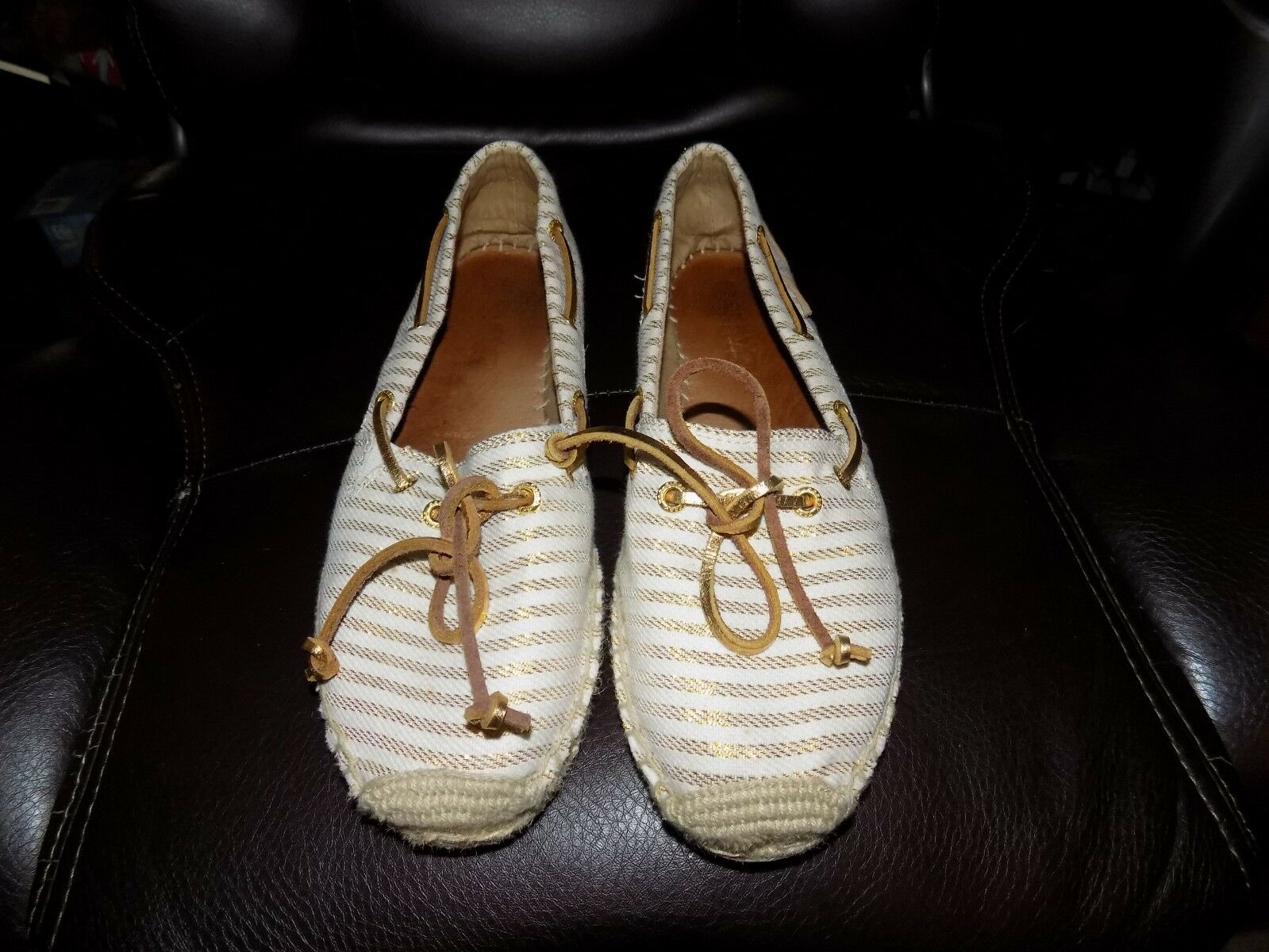 SPERRY Top-Sider KATAMA gold striped CANVAS Slip On Espadrille shoes Size 8.5