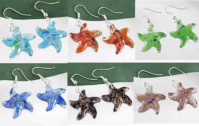 Gold Dust Starfish Lampwork Murano Art Glass Pendant Earring Dangle Silver P