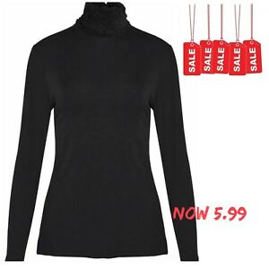 d3851880eb12fa Image is loading NEW-LADIES-RUFFLE-POLO-NECK-ROLL-TOP-WOMENS-