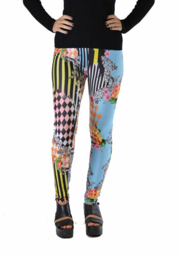 Dinamit Jeans Harlequin Style Women's Striped Floral Leggings