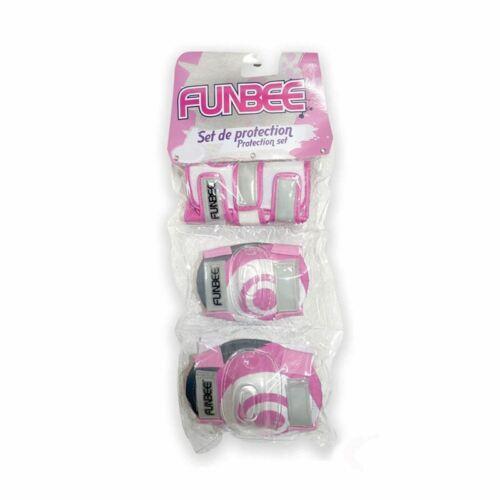 Funbee Rosa//Viola Bambine Bambini POLSO//GOMITO e ginocchiere Set di protezione S-X-SMALL