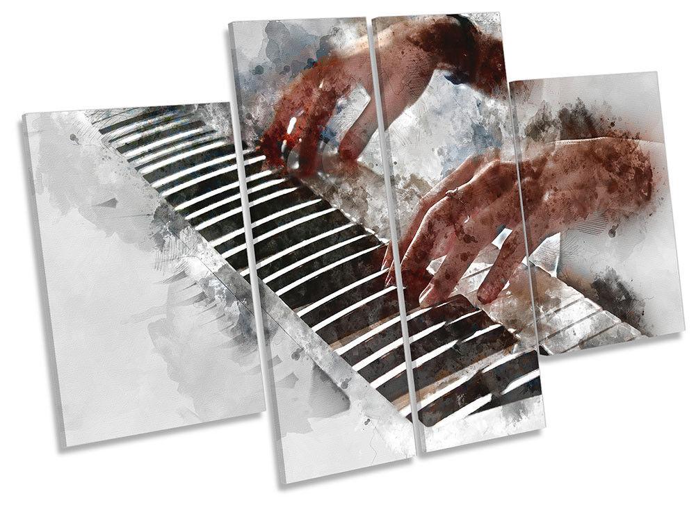 Música de piano Grunge LONA panel pa rojo  arte panel LONA de cuatro obras de arte 65ddfd
