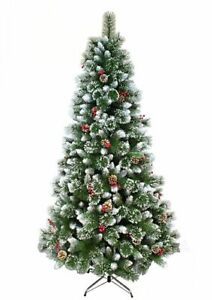 Naturally Decorated Elegant Christmas Tree Frosted Tips Red Pine Cones Barries