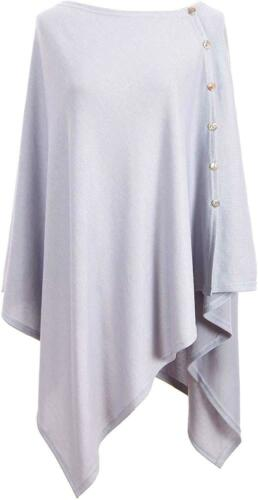 BEST Ladies Button Poncho Cape Cashmere Feel Multiway Shawl Scarf Wrap GIFT
