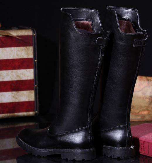 Chic Uomo Cool Knee High Stivali High Top Side Zip Shoes Military Combat Show Shoes Zip Hot 771a3e