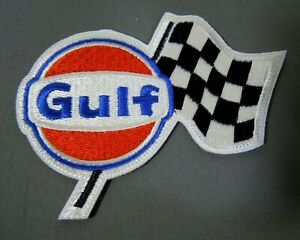 """GULF Fuel - Checker Flag Embroidered Iron On Uniform-Jacket Patch 3 1/2"""" McQueen"""