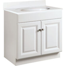 """Seasons 30W x 31-1/2H x 18""""D White Thermofoil 2 Door Vanity Base Cabinet"""