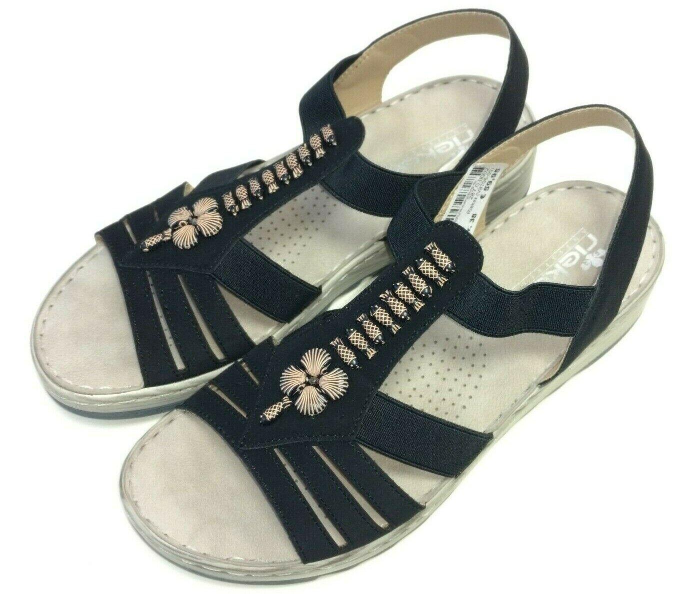 Rieker Antistress Damen Schuhe Sandale Sandalette Pantolette V8706-00 schwarz  | Trendy