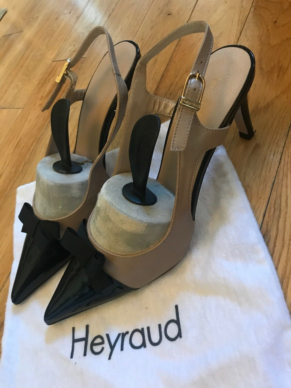 HEYRAUD black and beige patent, and  leather size 40