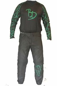 Mens-BMX-Motocross-black-green-off-road-dirt-bike-pants-jersey-set-clothing