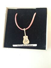 Acoustic Guitar PP-M02 Pewter Pendant on a PINK CORD Necklace