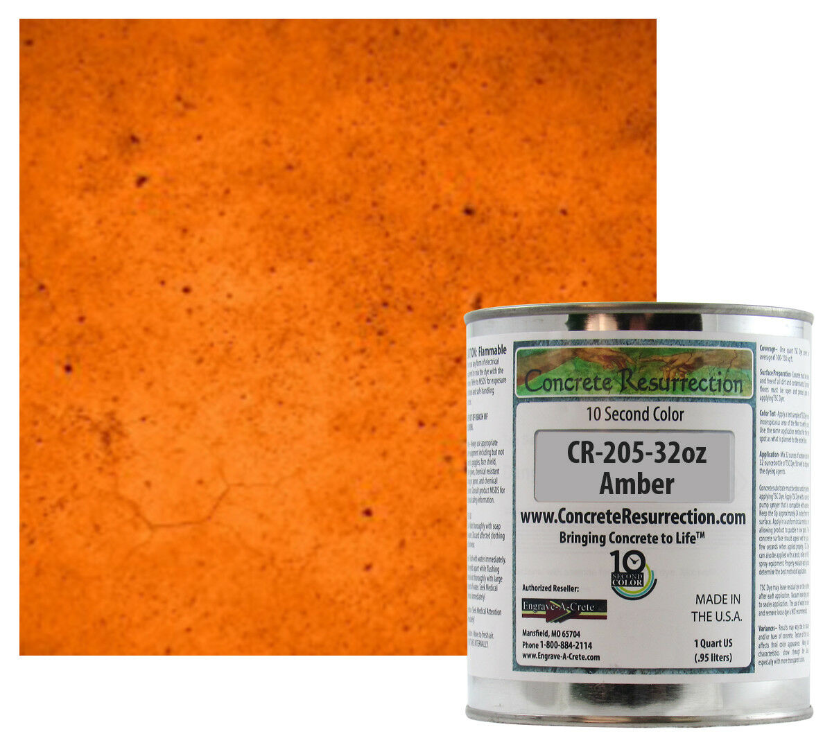 Fast Drying Concrete Stain-Professional-Easy to Use 100-150sq ft Amber