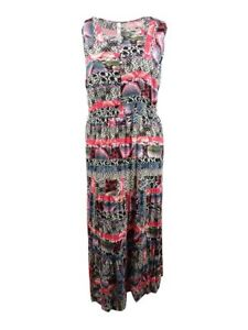 Details about NY Collection Women\'s Petite Plus Size Printed Boho Maxi Dress