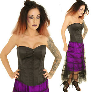 BLACK-SATIN-BASQUE-CORSET-gothic-tutu-punk-GOTH-BURLESQUE-COSTUME-ALTERNATIVE