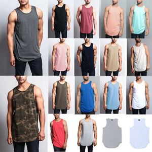 Victorious-Men-039-s-Basic-Long-Length-Curved-Hem-Tank-Top-Sleeveless-T-SHIRTS-TT47