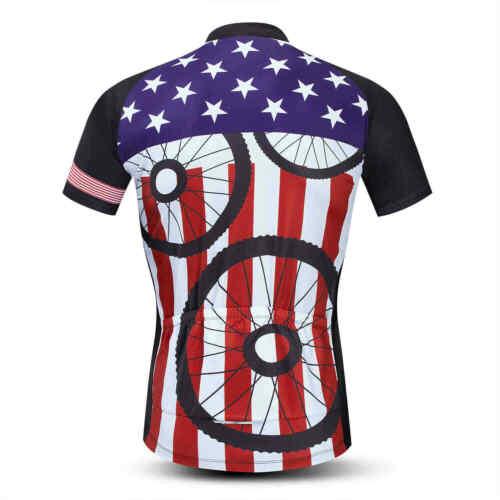 Men/'s Team Cycle Jersey Top Short Sleeve Reflective Bike Cycling Shirt S-5XL