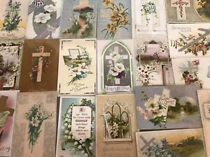 LOT-of-20-BEAUTIFUL-Vintage-034-EASTER-CROSSES-034-with-Flowers-CROSS-POSTCARDS-p897