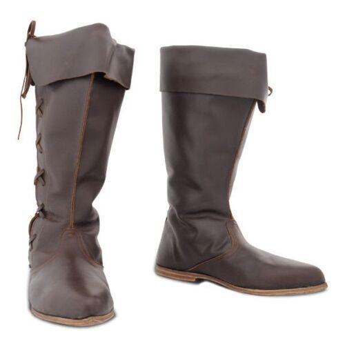Knee Length Leather Boots Medieval Renaissance Shoes SCA LARP Pirate