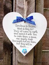 Natale IN PARADISO-Memoriale Ornamento di Natale-cuore fatto a mano-Blu - 6 pollici