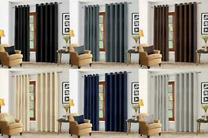 Luxury-Thermal-Blackout-Eyelet-Ring-Top-Curtains-Pair-with-tie-backs