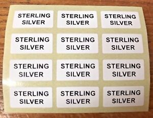 STERLING-SILVER-Jewellery-Labels-Stickers-20mm-x-10mm-Silver-or-Black-on-White
