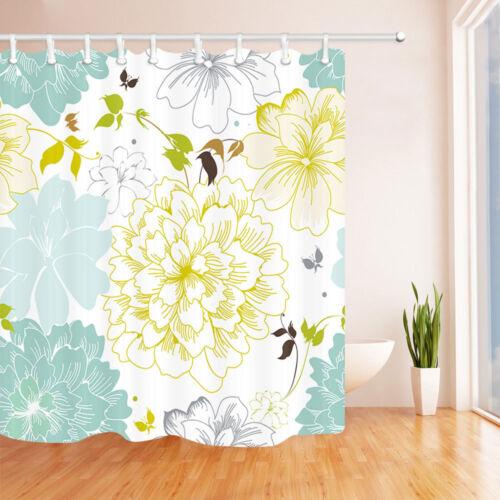 "70/"" Floral Art Painting Peony Bathroom Waterproof Fabric Shower Curtain /& Hooks"
