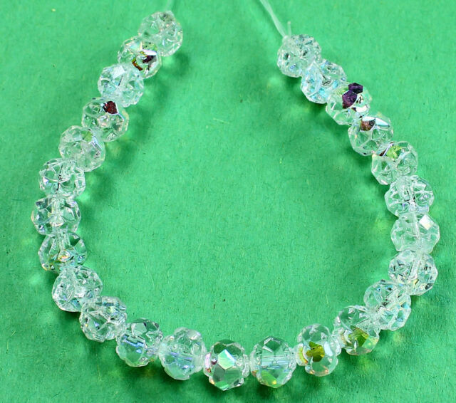 25 Crystal AB Czech Firepolish Rosebud Glass Beads 5x6mm