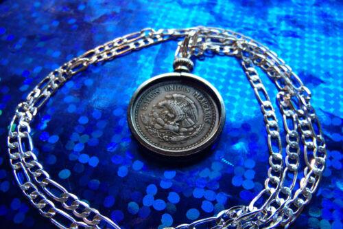 "Pre 1945 mexicain Calendrier Maya Coin Pendentif en argent sterling 30/"" Chaîne"
