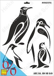 Schablone-Stencil-A3-148-0849-Pinguine-Neu-Heike-Schaefer-Design