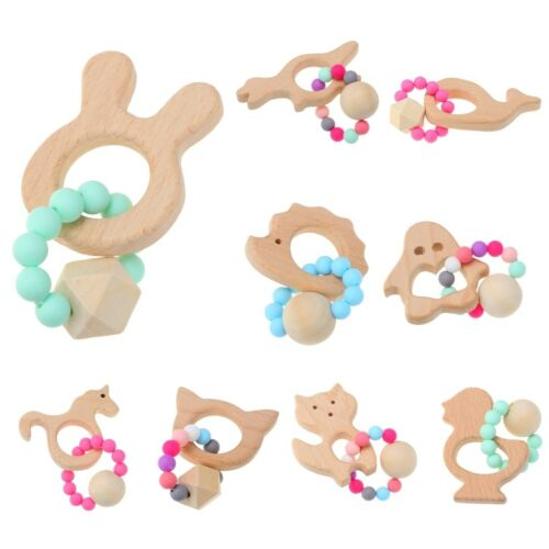Baby Wooden Teether Bracelet Silicone Beads Teething Ring Kids Play Chewing Toy