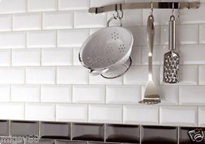 Image Is Loading Wall Tiles Gloss White Bevel Subway Tile 150x75mm