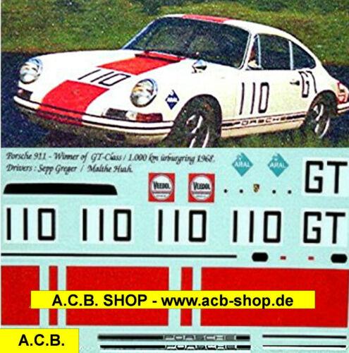 Porsche 911 Winner of GT Class 1968 1:43 Decal Abziehbild