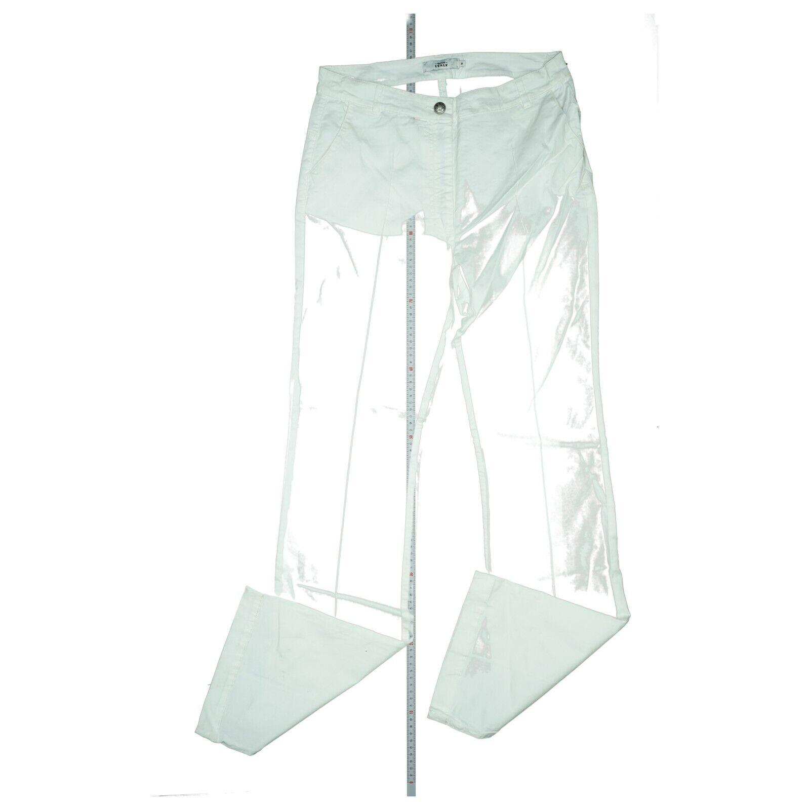 0039 ITALY super stretch Jeans Hose Bootcut Schlag high Waist Sommer M L34 Weiß