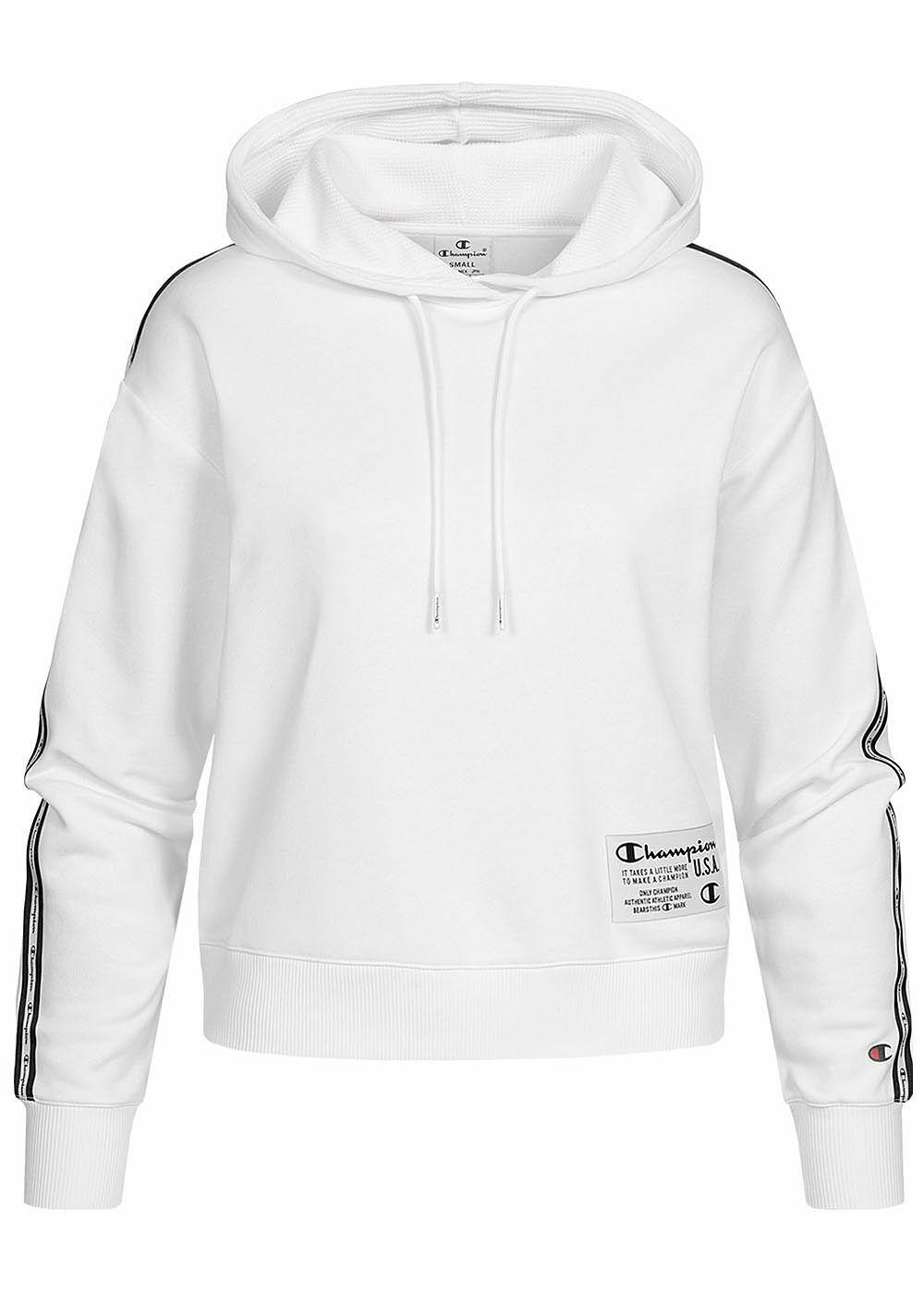 B21020502 Damen Champion Pullover kurzer Hoodie Logo Patch Kapuze weiß