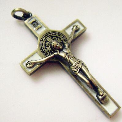 "Ancient bronze Enamel Crucifix 1.65 "" jesus cross Catholic rosary pendant"