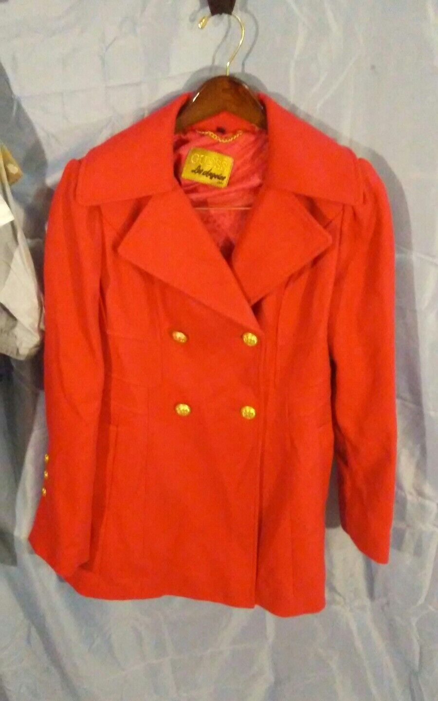 GUESS GUESS GUESS Los Angeles Women's Red Wool Double Breasted Dress Coat sz L b4c63d