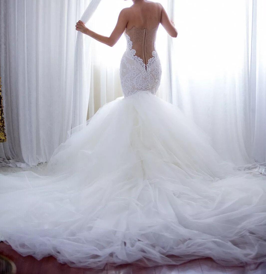 Custom lace crystal couture designer Wedding Dress - image 5