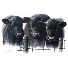 """CATTLE - BLACK ANGUS COWS 3 HEADS on One 16 Inch Fabric Panel To Sew.Pic 7""""x11"""""""