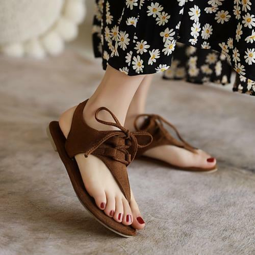 Women's Fashion Faux Suede Lace Up Thong Slingback Flat Beach Sandal Shoes SUNS