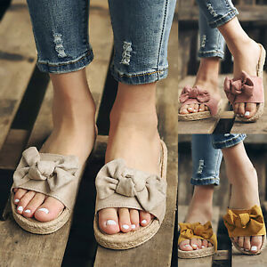 Womens-Slip-On-Flat-Sandals-Bow-Summer-Slides-Espadrille-Beach-Soft-Casual-Shoes
