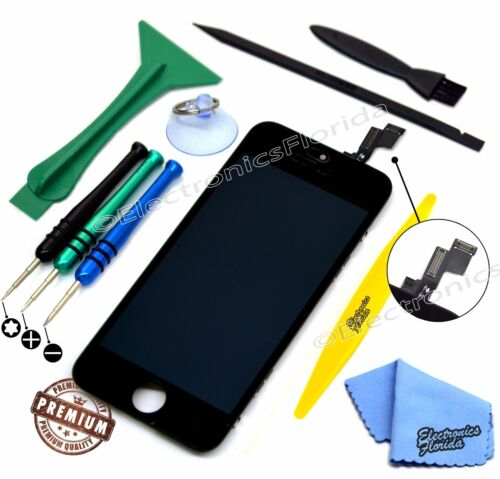 Black LCD Screen Replacement Digitizer Glass Assembly For iPhone 5S Premium