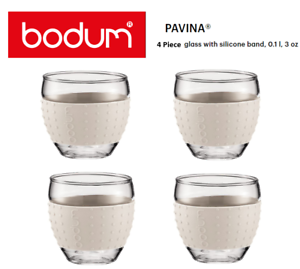 Bodum Pavina Espresso 3oz Glass Coffee Cup Set Range Off White {4-Piece Set}