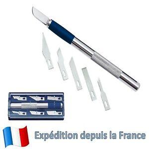 Coffret-Outil-Couteau-de-Precision-Scalpel-Cutter-6-Lames-Knife