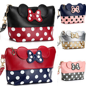 Cute-MINNIE-MICKEY-MOUSE-Polka-Dots-Travel-Cosmetic-Make-Up-Clutch-Bag-Handbag