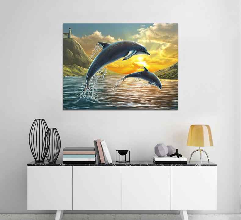 3D Abendred Springen Delphine 8 Fototapeten Wandbild BildTapete AJSTORE DE Lemon