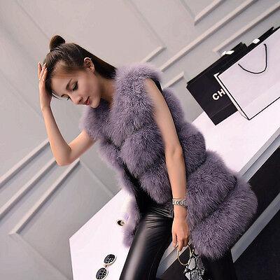 100% Real ostrich feather Fur Vest Gilet Waistcoat Jacket Coat Women Vintage75cm