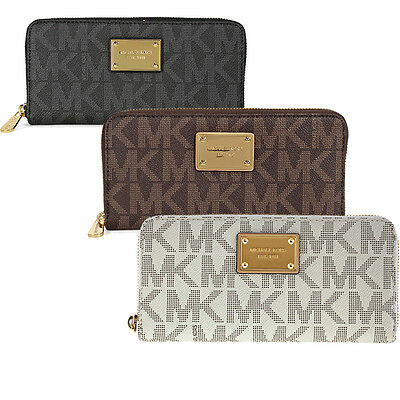 Michael Kors Jet Set MK Logo Zip Continental Wallet - Many Styles