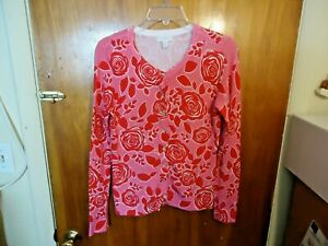 Charter-Club-Petite-Size-P-S-Button-Down-Long-Sleeve-Pink-amp-Red-Floral-Top