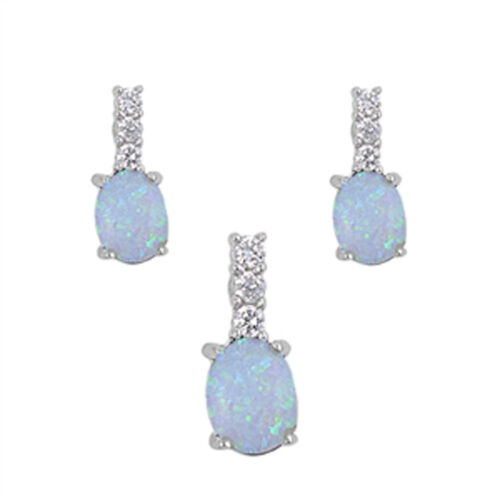 Oval Bar Earrings White Simulated Opal Clear CZ .925 Sterling Silver Pendant Set
