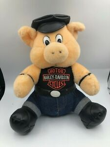 Harley-Davidson-1993-Play-By-Play-Pig-Hog-Plush-Soft-Stuffed-Toy-Animal-Doll